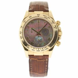 Rolex Daytona 116518 18K Yellow Gold & Brown Leather Mother of Pearl Dial Automatic 40mm Mens Watch 2002