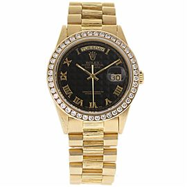 Rolex Day-Date 18078 18K Yellow Gold wDiamond Black Dial Automatic 36mm Mens Watch