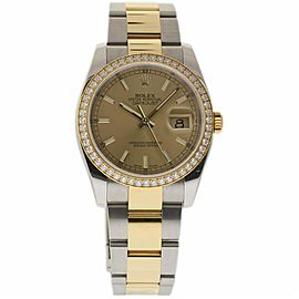 Rolex Datejust 116243 Stainless Steel & 18K Yellow Gold wDiamond Automatic 36mm Mens Watch