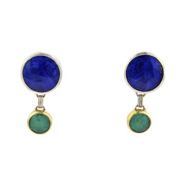 Gurhan 24K Yellow Gold & Sterling Silver Galapagos Green Gem & Lapis Dangle Earrings