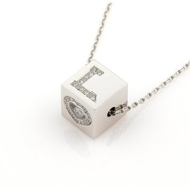 Chopard 18K White Gold Diamond Love Ice Cube Pendant Necklace