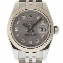 Rolex Datejust 179174 Stainless Steel/White Gold Silver Dial wDiamond 26mm Womens Watch 2006