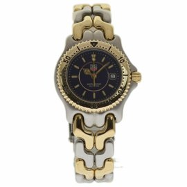 Tag Heuer Professional WG 1327 Stainless Steel & 18K Yellow Gold Blue Dial Quartz 28mm Womens Watch