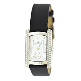 Baume & Mercier Hampton Milleis MOA08145 18K White Gold & Leather Quartz 22mm Womens Watch