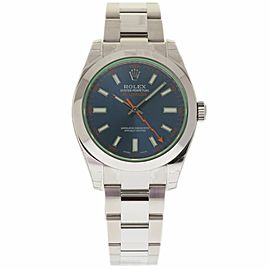 Rolex Milgauss 116400 Stainless Steel Blue Green Dial Automatic 40mm Mens Watch