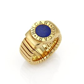 Bulgari 18K Yellow Gold Lapis Circle Tubogas Band Gold Ring Size 6