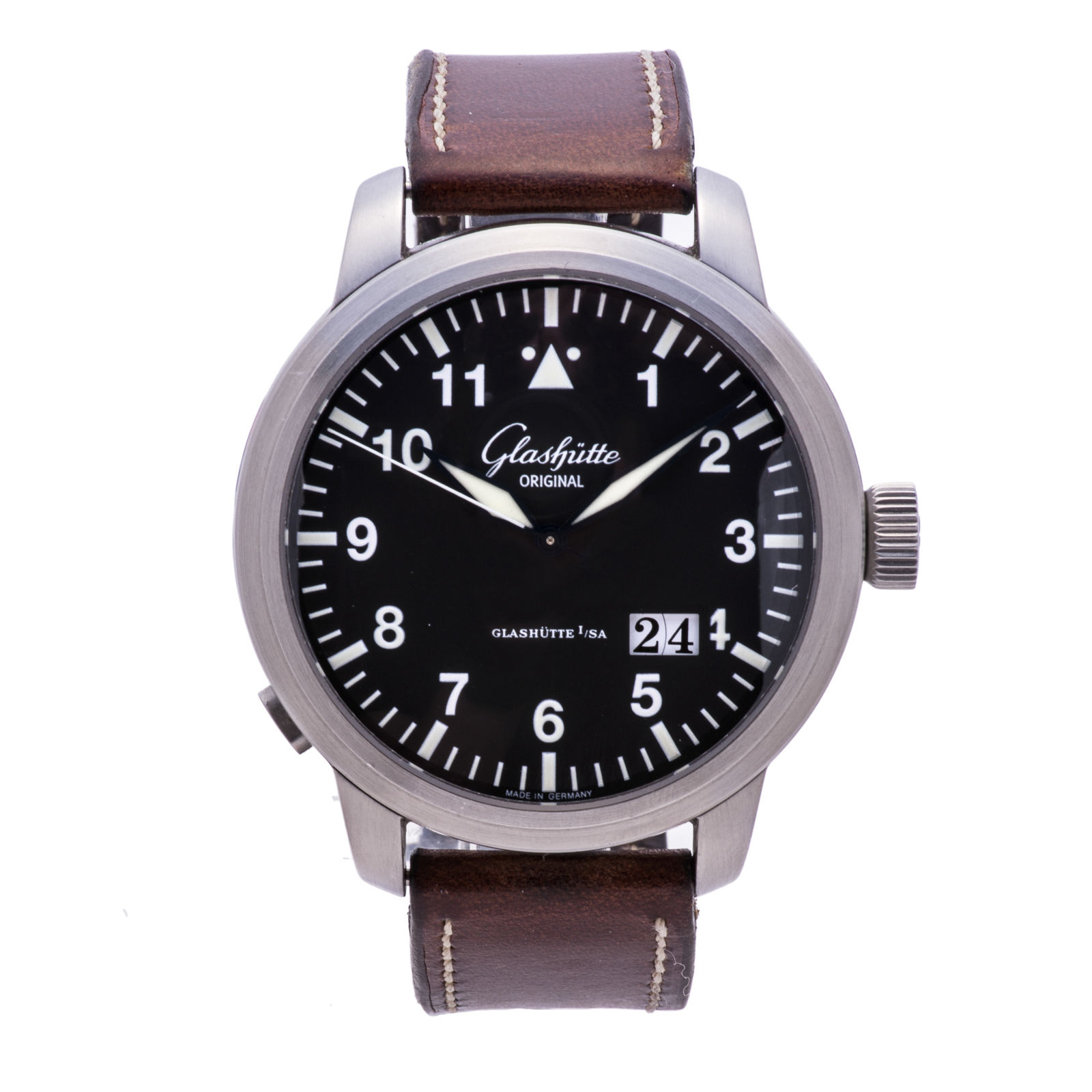 """Image of """"Glashutte Panorama 100-03-07-05-04 Stainless Steel & Leather Automatic"""""""