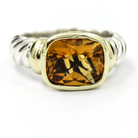 David Yurman 925 Sterling Silver and 14K Yellow Gold Citrine Cable Classics Ring Size 6