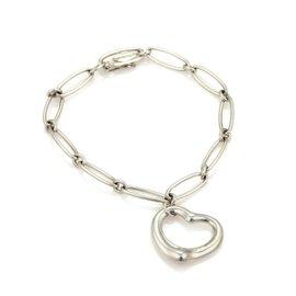 Tiffany & Co. Peretti Open Heart Oval Sterling Silver Chain Bracelet 7
