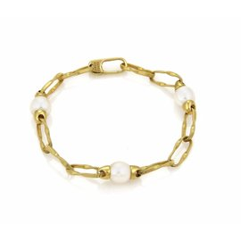 Marco Bicego Pearls Textured Large Oval Link 18k Yellow Gold Bracelet 7.75