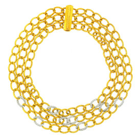 David Yurman 18K Yellow Gold Diamonds Strand Twisted Oval Link Chain Necklace