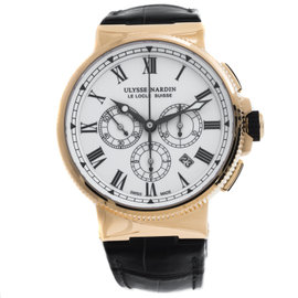 Ulysse Nardin Marine Chronograph 1506-150LE 18K Rose Gold Automatic 43mm Mens Watch