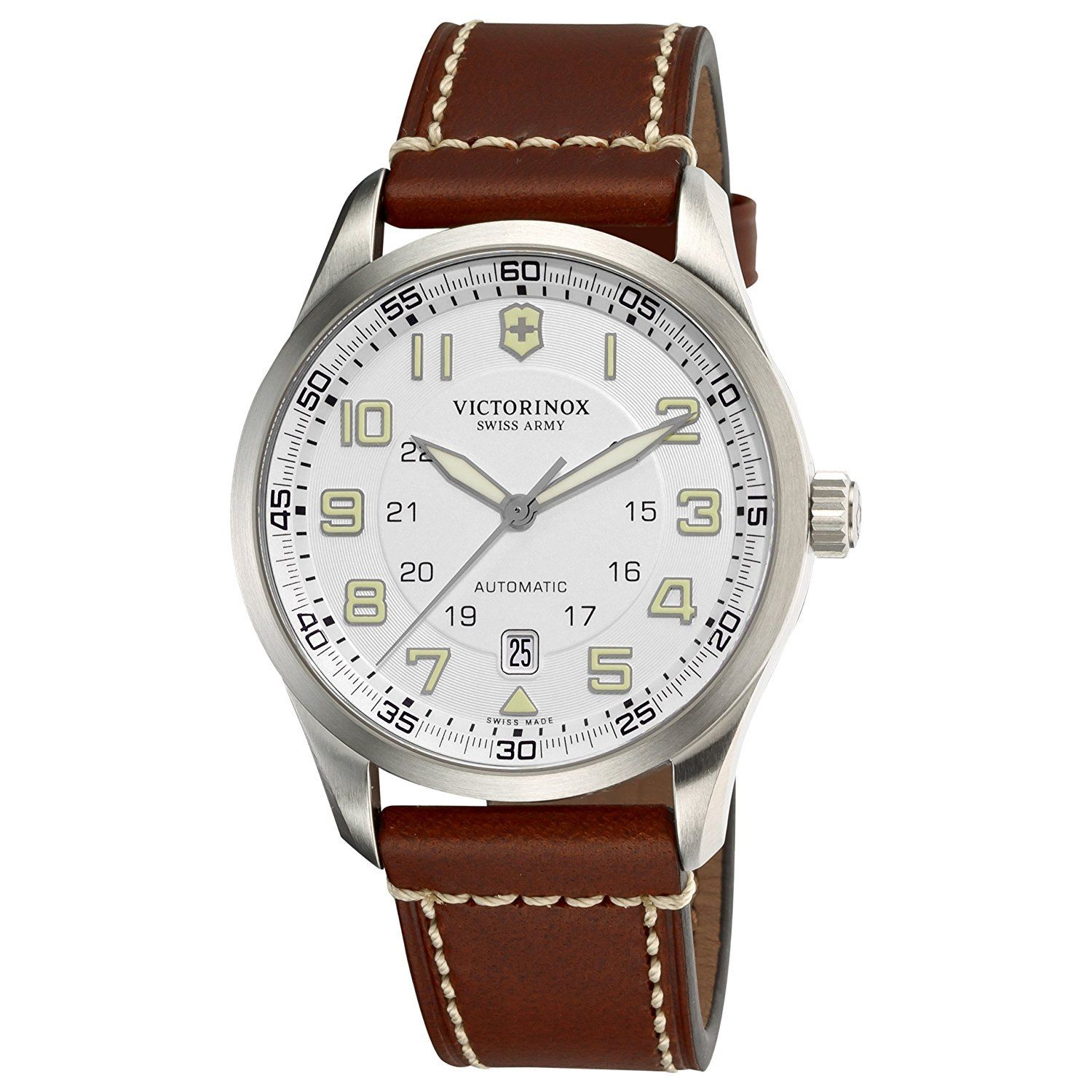 "Image of ""Victorinox Swiss Army 241505 Stainless Steel & Leather Automatic 42mm"""