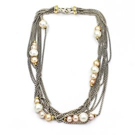 David Yurman 925 Sterling Silver and 18K Yellow Gold Multi-Strand Pearl Necklace