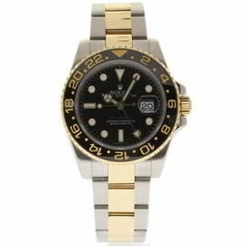 Rolex GMT-Master II 116713 Stainless Steel & 18K Yellow Gold Ceramic Black Dial 40mm Mens Watch