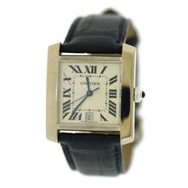 Cartier Tank Francaise 2366 18K White Gold & Leather Automatic 28mm Mens Watch