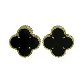 Van Cleef & Arples 18K Yellow Gold Alhambra Black Onyx Earrings