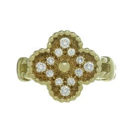 Van Cleef & Arpels Alhambra 18K Yellow Gold 0.32ct. Diamond Ring Size 6.0