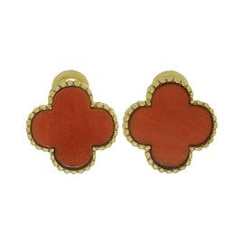 Van Cleef & Arples Alhambra 18K Yellow Gold Coral Clip-on Earrings