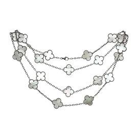Van Cleef & Arpels 18K White Gold Alhambra Motif Mother-Of-Pearl Necklace