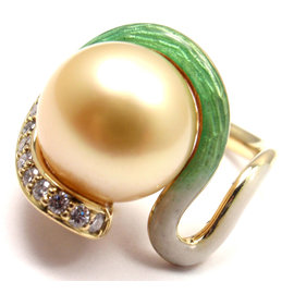Mikimoto 18K Yellow Gold with .15ct Diamond, Golden Pearl and Enamel Ring Size 4.25