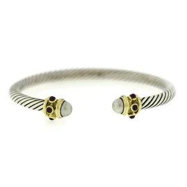 David Yurman Renaissance 14K Yellow Gold 925 Sterling Silver Garnet Pearl Cable Bracelet