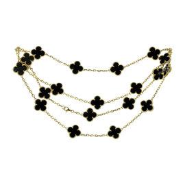 Van Cleef & Arpels Alhambra 18K Yellow Gold Black Onyx Motif Necklace