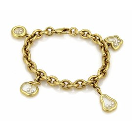 Chopard Happy Diamond 18K Yellow Gold Chain Charms Oval Bracelet