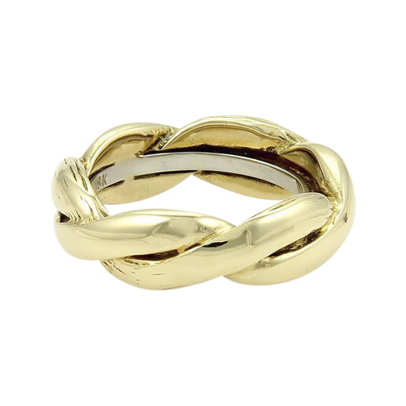 "Image of ""David Webb 18K Two Tone Gold Braided Band Ring Size 6"""