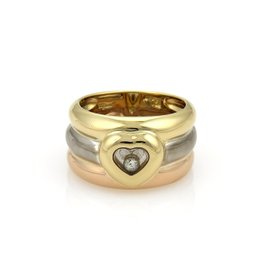 Chopard Happy Diamond 18K Tri-Color Gold Triple Stack Heart Wide Ring Size 6.5