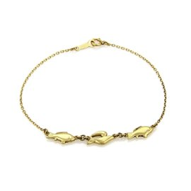 Mikimoto 18K Yellow Gold Fish Charm Chain Bracelet