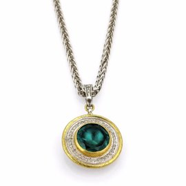 Gurhan 925 Sterling Silver & 24K Yellow Gold Startle Green Stone Diamond Necklace
