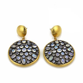 Gurhan 24K Yellow Gold & 925 Sterling Silver Moonstone Large Dangle Earrings