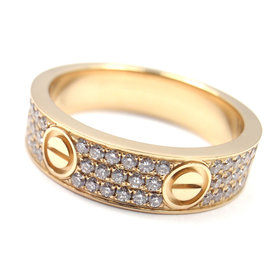 Cartier Love 18K Yellow Gold with 0.50ct Diamond Paved Band Ring Size 10.25