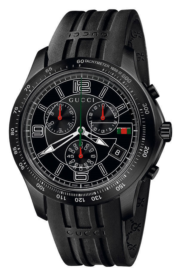 "Image of ""Gucci G-Timeless Ya126206 Black Stainless Steel & Rubber Quartz 45mm"""