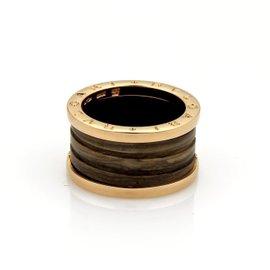 Bulgari 18K Rose Gold B Zero1 Brown Marble Band Ring Size 7