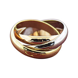 Cartier 18K White, Rose & Yellow Gold Trinity Ring Size 4.75
