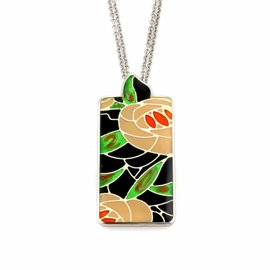 Roberto Coin 925 Sterling Silver Floral Enamel Pendant Necklace