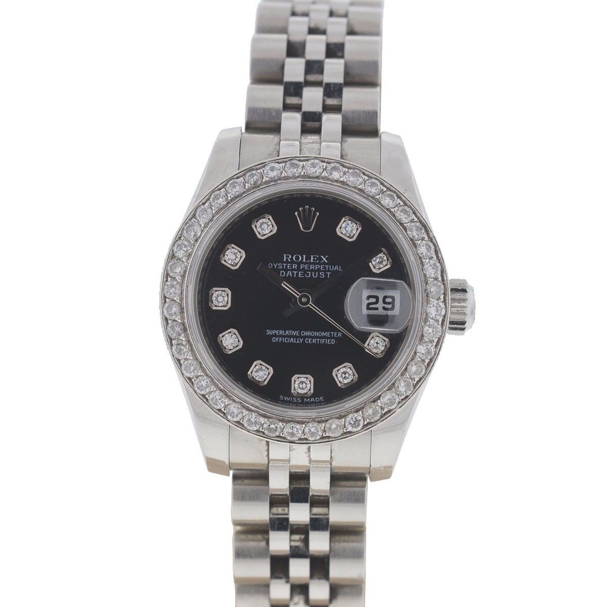 "Image of ""Rolex Datejust 179160 Stainless Steel wDiamond Dial & Bezel Automatic"""