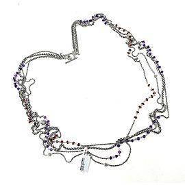 David Yurman Starburst 925 Sterling Silver Amethyst Garnet Bead Necklace