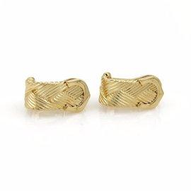 Cartier 18K Yellow Gold Double C Basket Weave Earrings