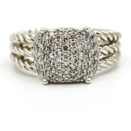 David Yurman Petite 925 Sterling Silver Wheaton 0.37ct. Diamonds Ring Size 6