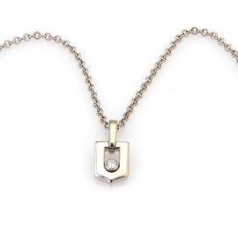 Cartier 18K White Gold Diamond Logo Pendant & Chain Necklace