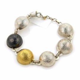 Gurhan Dome 24K Gold & Black White 925 Sterling Silver Half Dome Link Bracelet