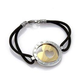 Bulgari Tondo 18K Yellow Gold & Stainless Steel Heart Charm Cord Bracelet