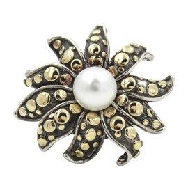 John Hardy 18K Yellow Gold 925 Sterling Silver Pearl Flower Dot Ring Size 5.5