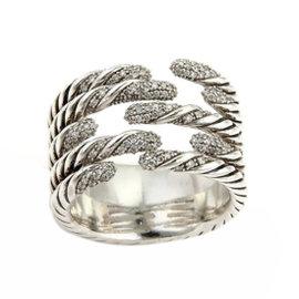 David Yurman 925 Sterling Silver & Diamond Willow 5 Row Ring Size 8.5