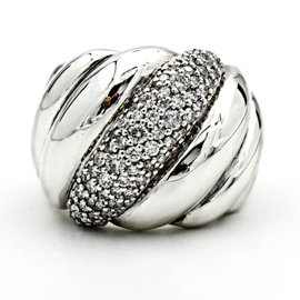 David Yurman 925 Sterling Silver Sculpted Cable With Diamonds Ring Size 6