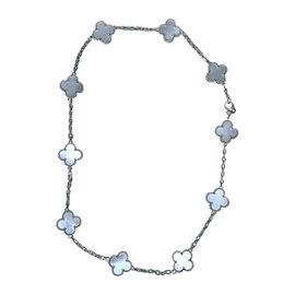 Van Cleef & Arpels Alhambra 18K White Gold Mother of Pearl Motif Necklace