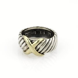 David Yurman Crossover 925 Sterling Silver & 14K Yellow Gold Cable Band Ring Size 9.75